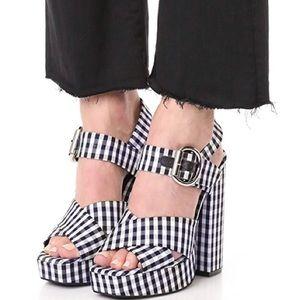 Jeffery Campbell Gingham chunky Platform heels